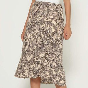 J.O.A LOS ANGELES Faux Wrap Animal Print Skirt